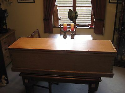 LOVELY VICTORIAN BEECH,OR BLEACHED MAHOGANY BLANKET/TOY BOX/CHEST 130 cm 9