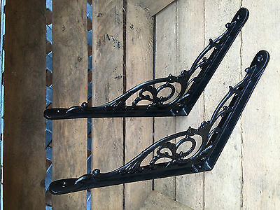 "Pair Black 10x8"" ANTIQUE HEAVY CAST IRON VICTORIAN SHELF WALL BRACKETS BR28bx2 5"