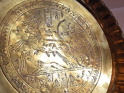 AIA414 BRASS ANCIENT EGYPT REPRODUCTION  TRAY, engraved chariot & horse design 2