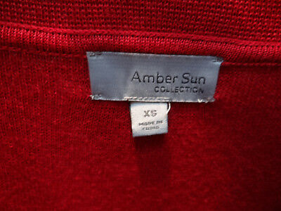 CLASSY Deluxe Amber Sun Brick Rusty Red Lovely XS S Cardigan Sweater NWOT 3