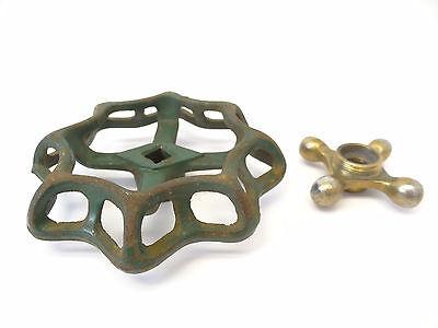 Two Cast Iron & Brass Hose Spigot Knobs Handles Hardware Parts Design Plumbing 2