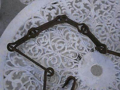 Antique Vintage 18Th Century Wrought Iron Primitive Hearth Fireplace Chain