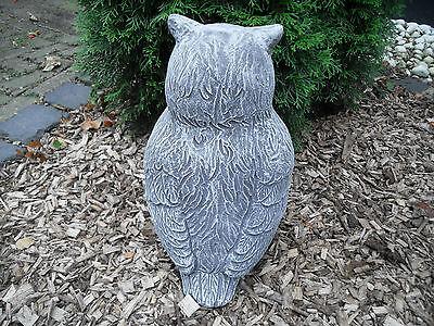 Steinfigur große dicke Eule  Frostfest Steinguss Garten Deko Kautz Schneeeule