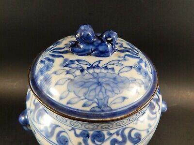 Chinese Blue White Porcelain Covered Jar Metal Clad Rim Shishi Finial Ex Skinner 3