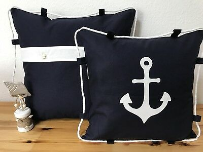 1x Maritime Kissenhülle*Kissenbezug *Seemannsknoten* Navy Blau//weiß//rot 40x40cm.