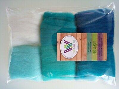 Turquoise set* Pure Merino Wool Needle and Wet Felting packs of 30, 60 or 90 g 5
