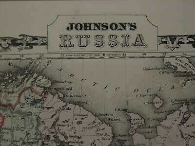Nice Large Detailed 1867 Hand-Colored Johnson & Browning Map, Russia & Empire! 2