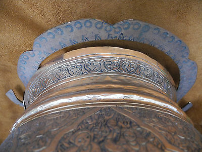 Antique Islamic Arabic Persian Copper Pail or Handled Pot with intricate work 9
