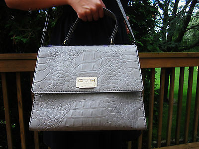 38b55d3bc9d6 ... FRENCH GREY Kate Spade ORCHARD VALLEY Doris Alligator Croc Leather  Satchel BAG 2