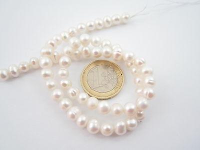 Filo Perle Bianche Coltivate Nei Molluschi Perliferi Diametro 6 Mm 3