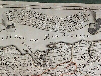 Germany Mecklenburg Dated 1692 Giacomo De Rossi Large Antique Engraved Map 3
