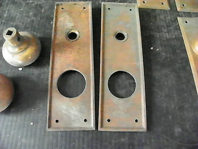 Lot Of 7 Antique Brass Exterior Lock Plates With Knobs  6310 4