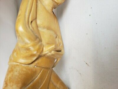 Nice vintage chinese or japanese monk figurine, carved wood, details 5