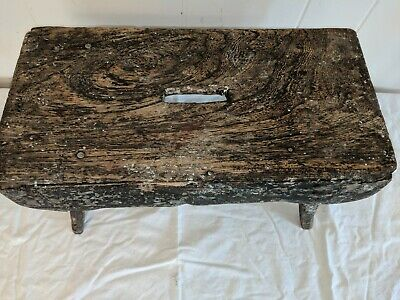 """ANTIQUE WOODEN MILKING STOOL LOTS OF PATINA 16"""" Long by 8"""" Wide by 9"""" Tall 3"""