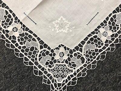White Embroidered Handmade Tatting Lace Reticella Needle Crochet Doily Wedding