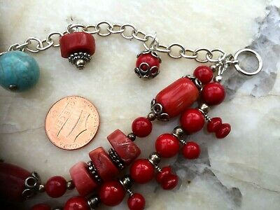 Vintage Chinese Coral And Turquoise 3 Strings Bracelet 3