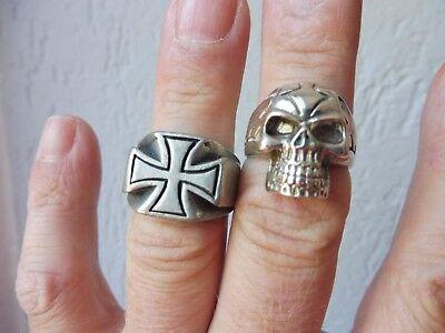 2 alte Ringe__Biker-Ringe__Eisernes Kreuz und Totenkopf_!