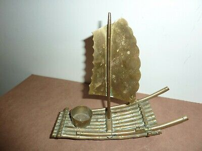 Vintage Chinese/Oriental 19Cm Long Brass Candle/Incense Burner Raft With Sail 7