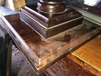 "circa 1920 pine newel post finial urn style 13"" h x 5"" dia x 11.25"" sq base 4"