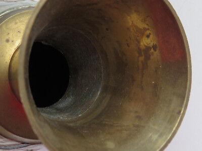 Antique Brass Cloisonne Champleve Enamel Owl Vase Trumpet Top Beautiful Birds R 8