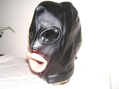 Black leather Gimp mask with Latex sissy lips in Red, Black or Pink Size M 4