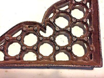 SET OF 2 LARGE HONEYCOMB LATTICE SHELF BRACKET BRACE Rustic Antique Brown Iron 5