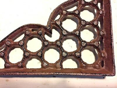 SET OF 4 LARGE HONEYCOMB LATTICE SHELF BRACKET BRACE Rustic Antique Brown Iron 5