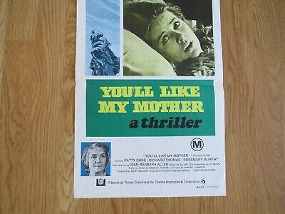 YOU'LL LIKE MY MOTHER ORIGINAL 1972 CINEMA DAYBILL FILM POSTER Patty Duke HORROR 3