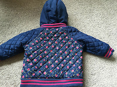 Next Girls Blue Quilted Hooded Jacket Pink Flowers 6-9 Months