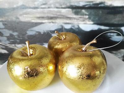 Hängen 3 Äpfel Gold Glanz 6.5cm Atrappen Dekoration Kunstobst Dekofrüchte 5