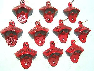 Ten Cast Iron Soda Pop Bottle Openers RED 2