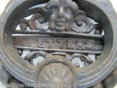 vintage cast iron figural door knocker letters mail slot lrg ornate art nouveau 2