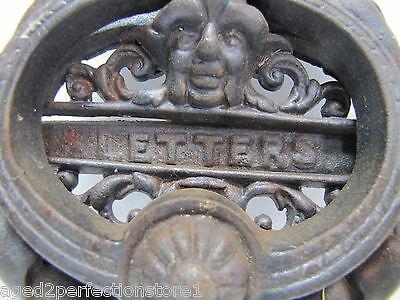 Vintage Cast Iron Figural Door Knocker Letters Mail Slot lrg ornate art nouveau 2