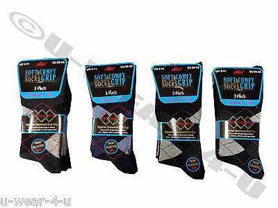 12 Pairs Pack Mens Aler Non Elastic Socks Diamond Top Argyle Light Dark Comfy 2