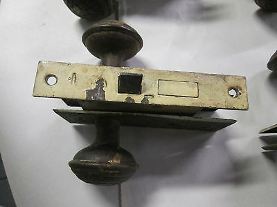 Complete Set Antique Victorian Door Knob Combination W/ Lock & Back Plates #314