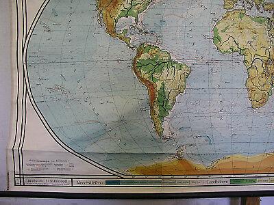 Schulwandkarte schöne alte Weltkarte Erdkarte 213x118cm vintage map von 1941 gut 4