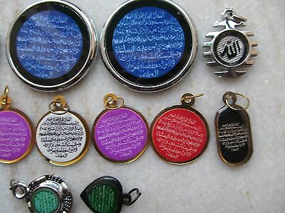 Tribal Ayaat Quran Islamic Holy Spiritual Metal Amulet Necklace Pendent Lot 12P 4 • CAD $63.23