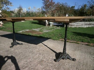 Antique pine table with twin pedestal cast iron legs 5