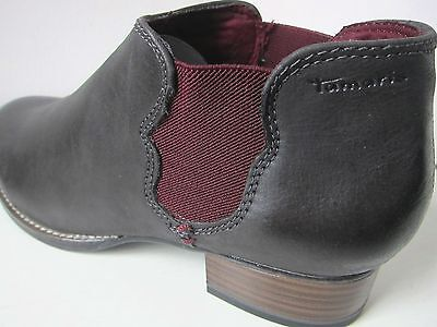 outlet store a7e9c 80f13 TAMARIS CHELSEA LEDER Stiefelette grau braun 41 ankle boots bootee brown  weinrot