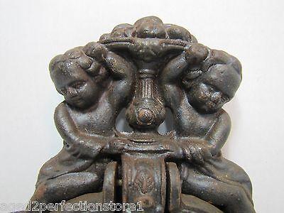 Vintage Cast Iron Figural Door Knocker Letters Mail Slot lrg ornate art nouveau 3