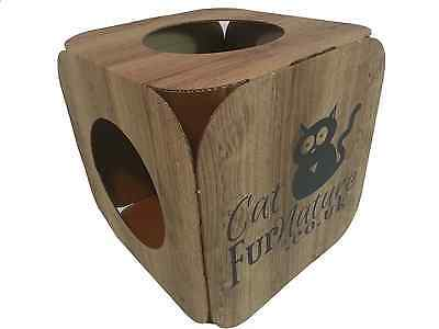 Cardboard Cat House \ Bed Toy Scratcher Wood Effect Cube 6