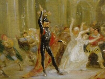 Unusual 18th 19th Century Skeleton Devil Demon At The Banquet Antique Painting 5