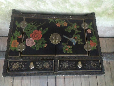 Black Lacquer Chinese 2 Drawer 2 Door Altar Table Oriental Cabinet Birds Flowers 4