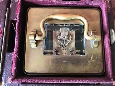 Antique French 1910 Brass & Glass Bevelled Travelling Carriage Mantle Clock 3