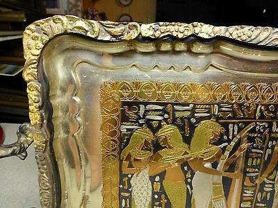 Antique Egyptian Storyline Ornately Engraved Silver, Brass, Copper, Pewter Tray 5