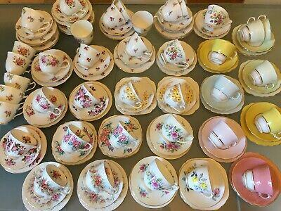 VINTAGE Bone China TEA CUP & SAUCER TRIO Tea Set FLORAL ROSE HARLEQUIN Matching 5