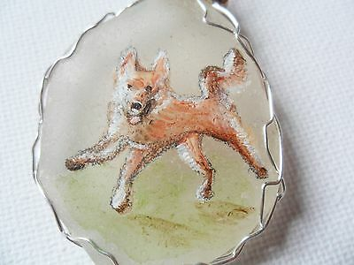 """Happy dog necklace, hand painted to order - 18"""" silver plated starry chain 4"""
