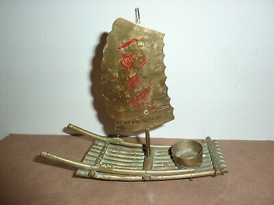 Vintage Chinese/Oriental 19Cm Long Brass Candle/Incense Burner Raft With Sail 11