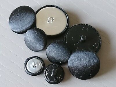 Black Satin Fabric Buttons, 16mm, 20mm, 25mm, 31mm & 37mm Small, Medium & Large 3