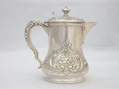 Exquisite Victorian Silverplate Honey Pitcher Jug Repousse Scroll Design Meriden 3